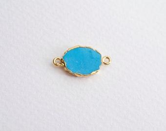 turquoise slice pendant - electroplated gold frame turquoise - gemstone pendant