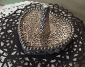 Heart Shaped Ring Holder w/Roses relief / Silver Plate Ring Holder by International silver