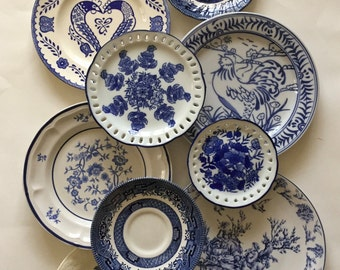 China Plates Mismatched / Vintage Blue China Plates for Plate Wall Hanging, or Serving at Showers, Tea Parties, Luncheons, etc.