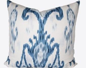 Decorative Designer Ikat Indigo Blue Accent Pillow,  20x20, 22x22, 24xx24 or Lumbar Throw Pillow