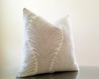 Gray Pillow Cover - Palm leaf motif upholstery Weight Fabric - Both Sides - Select your pillow size during checkout -