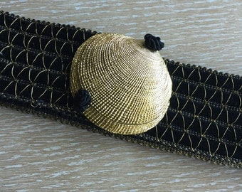 Wide Vintage 1980s Belt with Gold Shell Buckle