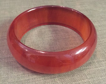 Vintage Amber Honey Smooth Bakelite Bangle Bracelet
