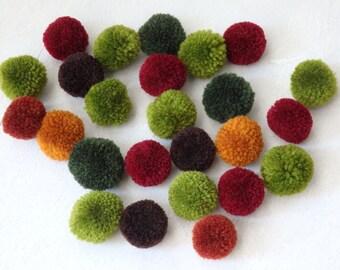 Hmong Hill Tribe pompoms - 25 pcs. Autumnal colours, ethnic yarn pom poms, handmade ethnic pompoms, Boho craft supplies, yarn pompoms - 25