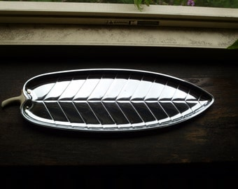 Silver Leaf Tray, Long Leaf Tray, Metal Tray