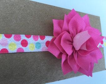 Pink lotus flower baby elastic headband