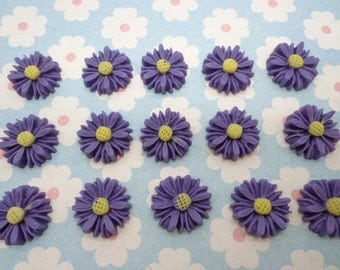 Flower Cabochons Resin Flowers 20pcs Purple  Color Resin Sunflower Charms--14mm