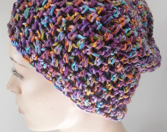 Purple crochet beanie for women - Slouchy hat for women - Purple slouch for women - Beanie hat for women - Beanie for women - Winter hat