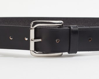 Black Bridle Leather Belt with 1.5 inch Roller Buckle