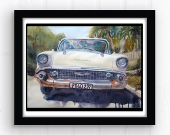 Sun Kissed Chevrolet Original Watercolor - Vintage Car Painting - '57 Chevy Art - Automobile Painting - 1957 car painting - White Chevy Car