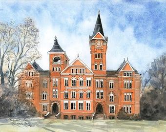 Auburn University Original Watercolor Samford Hall College Painting University Art Auburn Tigers War Eagle Orange Blue Auburn AL College Art