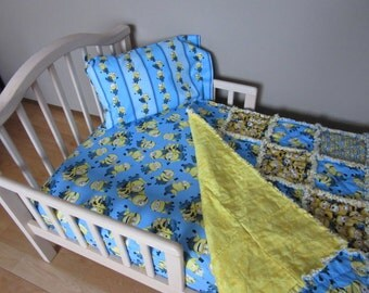 Toddler Bed MINIONS Despicable Me Fabric Crib Set Large Minion Rag Quilt Sheet & Case