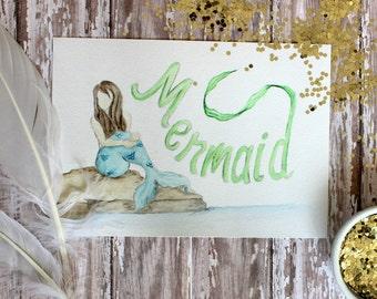 Mermaid 5x7 watercolor art Print - Mermaid Art Print - girls room - nursery