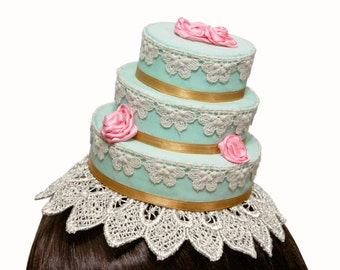 Elegant Rococo Baroque Three Tier Rose Cake - Variety of Base and Rose Colors Available!