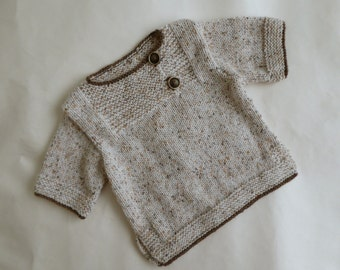 Brown & cream flecked boy's jumper, short sleeved pullover | layering baby knit | easy wear sweater | popover for baby boy