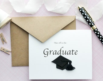 Graduation Card - Hats off to the Graduate - Handmade Card - Class of 2016 - Cap and Gown