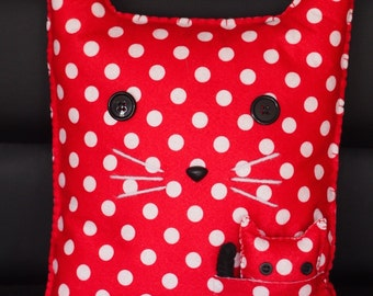 Red Spotted Felt Cat Throw Pillow with Mini Kitty in a Pocket