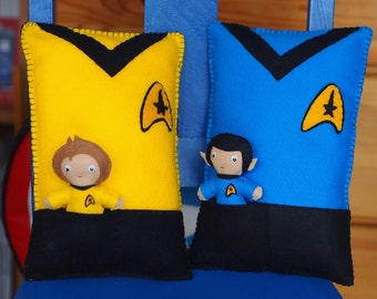 Star Trek Inspired Felt Throw Pillow with either Kirk or Spock