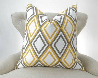 Yellow Floor Pillow -up to 28x28 inch- big pillow cover, harlequin pattern, diamond, corn yellow taupe white, Annie Premier Prints FREESHIP