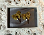 Set of two handmade Christmas Gold Sequin hair clips!