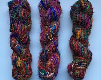Recycled Silk Sari Yarn - Art Yarn - Hand Spun, Eco-Friendly & Socially Responsible - 3 Skeins ~195 yards