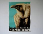 Original BERLIN Zoo GREAT CONDITION vintage Advertising Poster - Eagle design P121