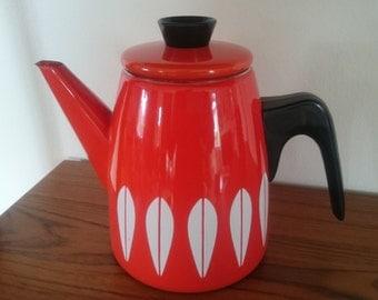 Vintage Cathrineholm coffee pot,  Lotus pattern, Grete Prytz Kittelsen, orange, red