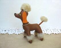 Dakin poodle, brown faux leather with orange ears, dream pets,  R. Dakin stuffed pet, dream pets