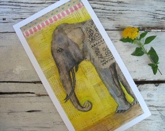 """Elephant Art-Print Of Circus Elephant-Another Day, Another Town-Mixed Media Original, 6""""x12"""" with 1/2"""" border"""