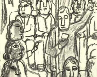 In the NYC Subway, A Train Romanesque. 6x8 Modern Expressionist Urban Subway Fine Art, New York City Signed Original Charcoal Drawing