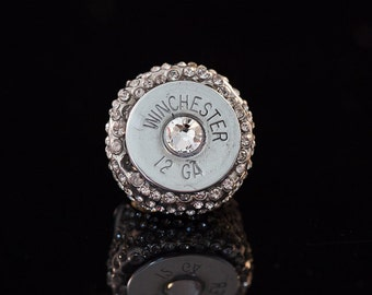 I Got Your Cocktail-12 Gauge Shotgun shell cocktail ring-Adjustable tricked out with large Swaroviski Crystal-fits most-Free U.S. Shipping