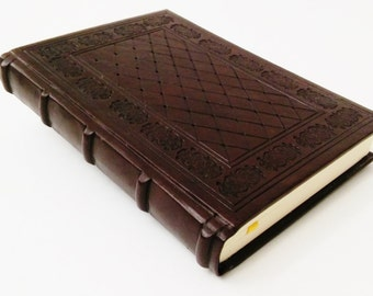 2017 Daily Planner - Brown Leather, Handtooled Medieval Style - Bookbinding