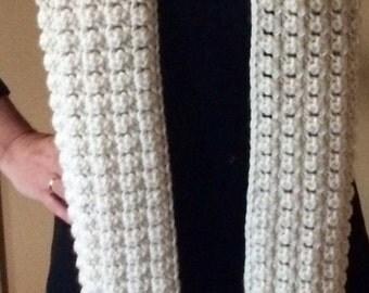 Crochet Cream Fringe Scarf