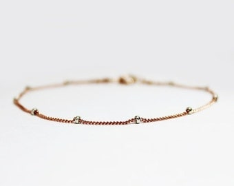 10% OFF SALE Rose Gold Plated Sterling Silver Stacking Bracelet - Bridesmaids Gift - Simple Rose Gold Bracelet - Satellite Bead Chain Bracel