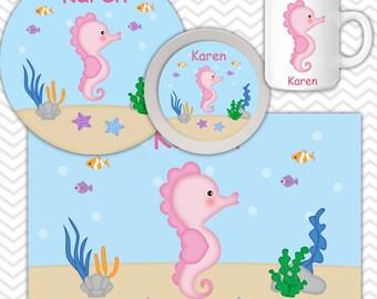 Seahorse Plate Bowl Mug Set - Personalized Seahorse Plate Set - Customized Plate, Bowl, Mug - Melamine Plate, Bowl & Set for Kids
