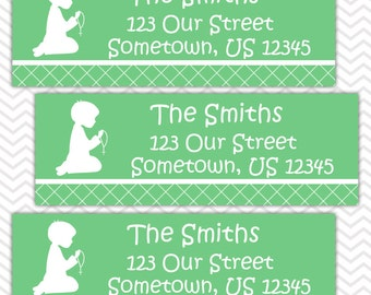 Kneeling Boy Green Baptism Christening First Holy Communion  - Personalized Address labels, Stickers