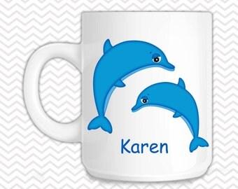 Dophins Kids Mug - Personalized Dolphins Mug - Customized Mug - Melamine Cup - Personalized Kids cup