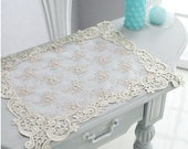 Wholesale Handmade Wedding Home Deco Tableware Table Doily Runner,Embroidery&Lace 47x42cm-Gold color