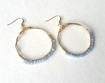Bleu Belles : Wire Wrapped Hoops