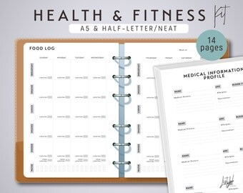 A5 HEALTH and FITNESS Kit  - Printable A5 Planner Inserts - Neat Theme - 14 sheets - fits Filofax A5, Kikki K Large