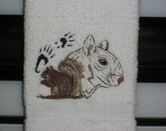 Plush Squirrel hand towel
