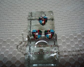 Heart Mosiac Necklace & Earring Set in Sterling Silver  1743