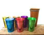 1950s Anodised Aluminium Cups with original case ,Vintage Travel Tumblers, Set of 6 Metal glasses, Retro Kitchen Decor, Camping, Picnic