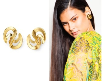 groovy vintage 50s/60s NAPIER signed gold swirly S shaped clip on earrings ear clips