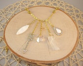 Gold Charm Necklace- Arrow, Crystal, Heart- One of a Kind!