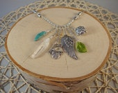 Silver Charm Necklace- Bird Nest, Wing, Crystal, Turquoise, Leaf- One of a Kind!