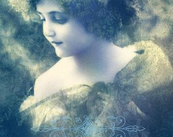Vintage image altered art,Charming Girl,blue,decor,vintage art,vintage photo,Image Instant Download.