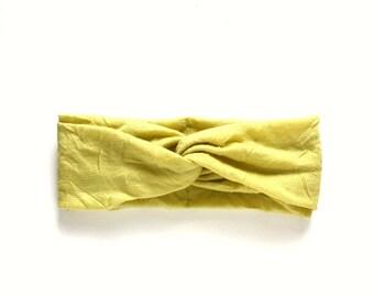light yellow turban, twist headband hair accessory stretch turband, women's head band fashion turban twisted center hair wrap yoga headband