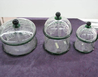 antique Salir Bucelleti set of 3 Candy Dishes Etched and Hand Blown with LID
