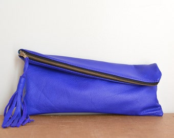 Electric Purple Leather Fold Over Clutch